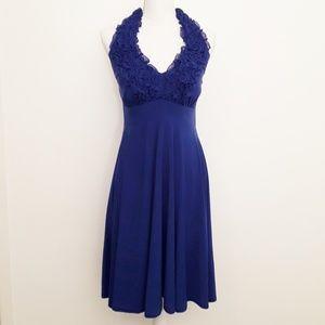 Blu Sage Blue Ruffle Halter Dress EUC sz 8